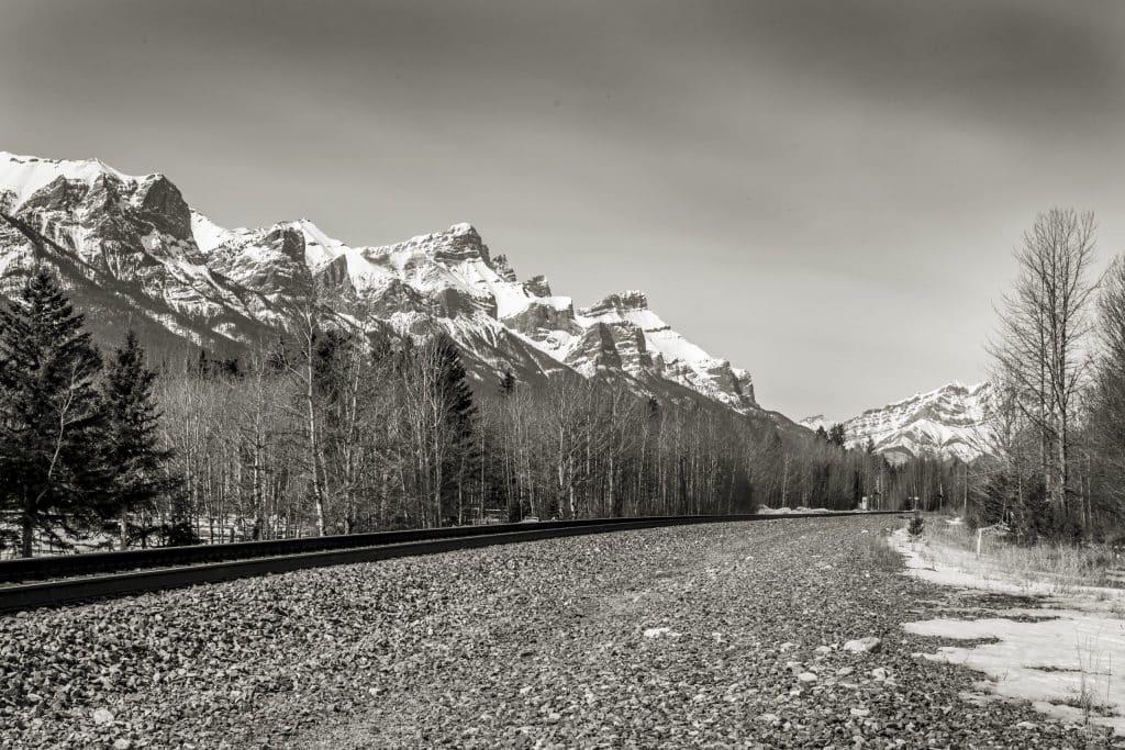 Black and white train tracks two