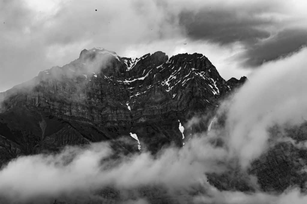 Black and white mountain cloud
