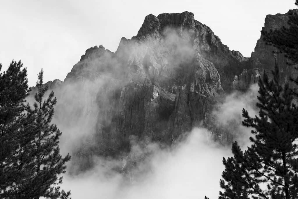 Black and white mountain mist