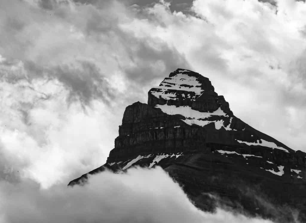 Black and white mountain peak