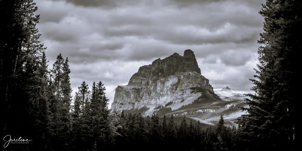 Black and white Castle mountain