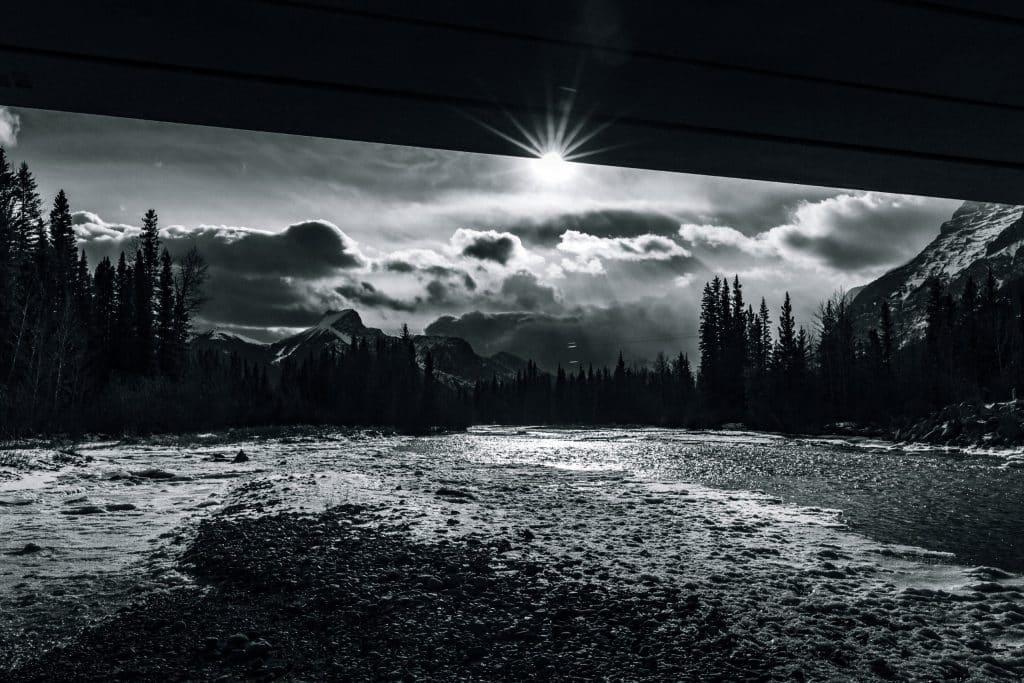 Black and white bright sun