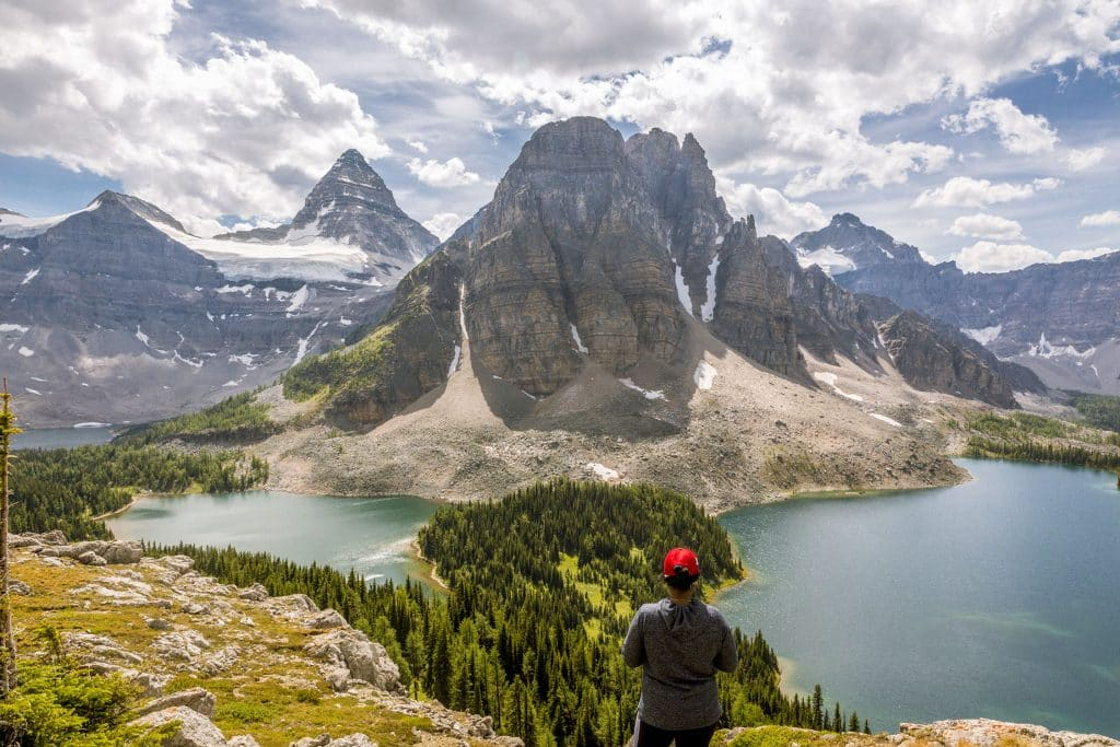 Views of Cerulean Lake, Sunburst Lake and Lake Magog with Mount Assiniboine and Sunburst Mountain viewed from the Niblet.